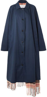 Vetements Oversized Reversible Gabardine And Tartan Wool Trench Coat - Navy
