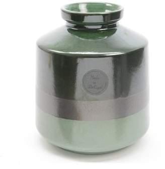 "Kaemingk 6.75"" Botanic Beauty Two-Tone Green Colour Flow Earthenware Ceramic Vase"