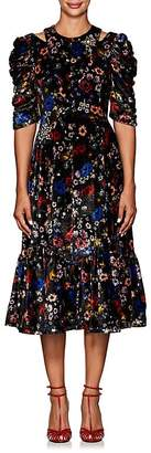 Erdem Women's Anthea Embellished Floral Velvet Dress