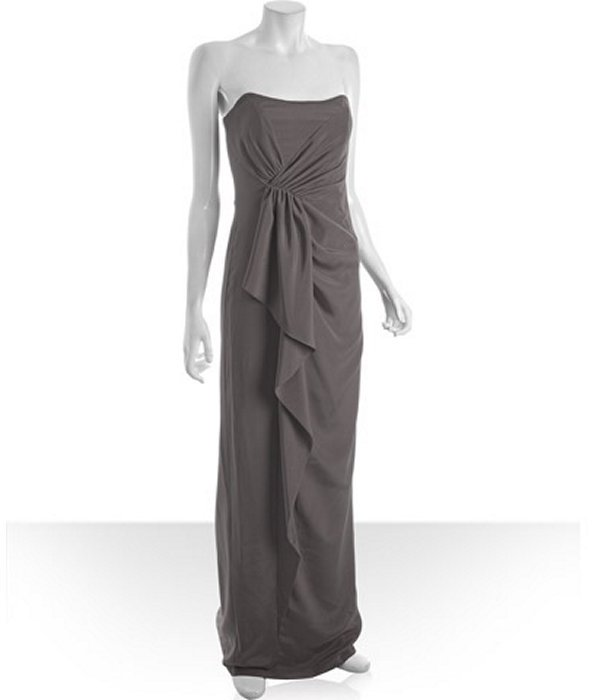 Nicole Miller charcoal stretch silk ruffle detail strapless gown