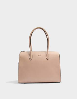 Furla Pin Large Satchel Bag in Moonstone Calfskin