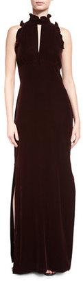 Shoshanna Sleeveless Ruffle-Trim Taffeta Column Gown, Cabernet $450 thestylecure.com