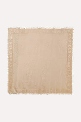 Burberry Silk And Wool-blend Scarf - Camel
