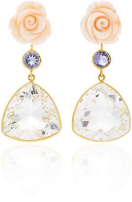 Bahina 18K Gold Pink Coral Flower Lolite Rock Crystal Earrings