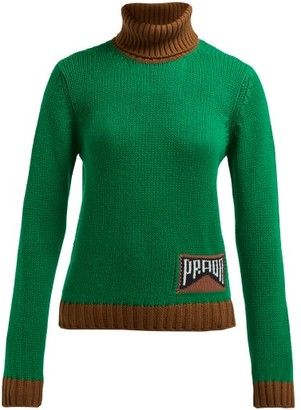 Prada Roll Neck Cashmere Blend Sweater - Womens - Green Multi