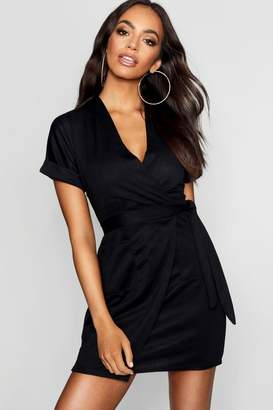boohoo Obi Tie Wrap Dress