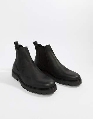 Zign Shoes chunky chelsea boots in black leather