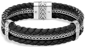 John Hardy Sterling Silver Classic Chain Triple Row Black Leather Bracelet