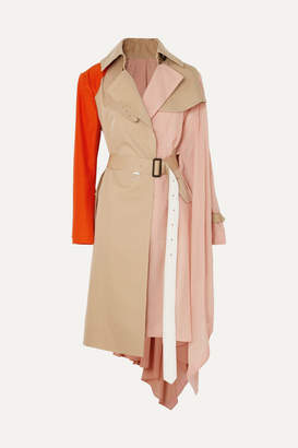 Sacai Draped Pleated Cotton-blend Gabardine, Poplin, Georgette And Satin Trench Coat - Beige