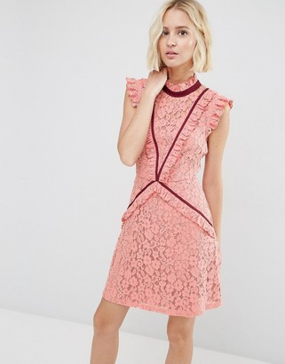 ASOS Lace Shift Dress with Ruffle Detail and Contrast Trim $89 thestylecure.com