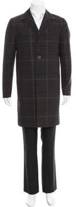 Santoni Plaid Wool-Blend Car Coat