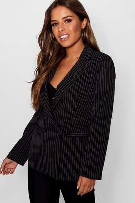 boohoo Petite Izzie Stripe Double Breasted Tailored Suit Blazer