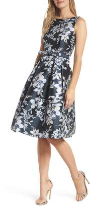 Eliza J Metallic Floral Belted Fit & Flare Dress