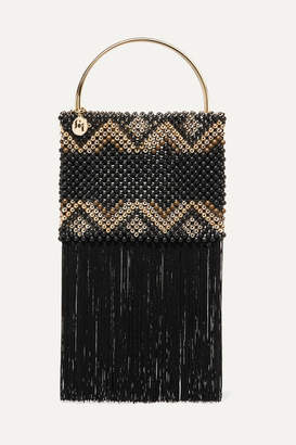 Rosantica Janice Fringed Beaded Pouch - Black