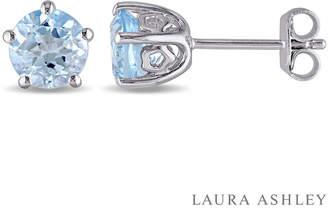 Laura Ashley FINE JEWELRY Round Blue Topaz Sterling Silver Stud Earrings