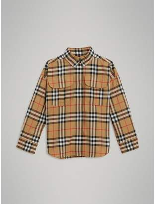 Burberry Vintage Check Cotton Shirt , Size: 8Y, Yellow