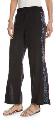 Johnny Was Izamal Embroidered-Side Linen Pants, Plus Size