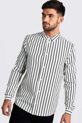 boohoo Monochrome Long Sleeve Stripe Shirt