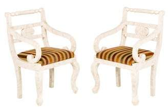 Pair of Moroccan Bone Inlay Armchairs