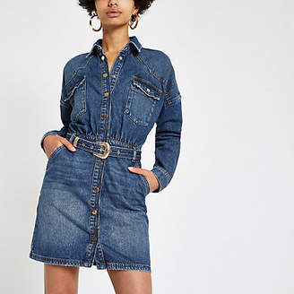 River Island Blue belted denim shirt dress