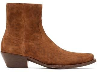Saint Laurent Lukas Western Leopard Print Suede Boots - Womens - Leopard