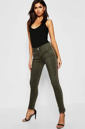 boohoo Mid Rise Sequin side Stripe Skinny Jeans