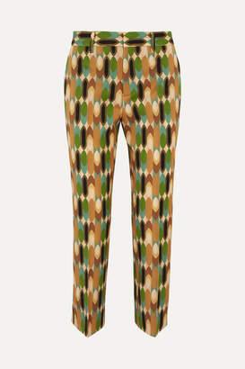 Prada Cropped Printed Wool-blend Twill Straight-leg Pants - Brown