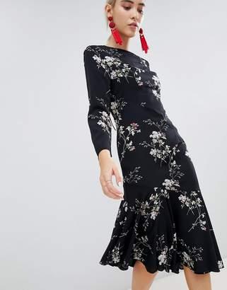 boohoo Open Back Asymmetric Hem Midi Dress