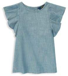 Ralph Lauren Little Girl's Flutter-Sleeve Chambray Top