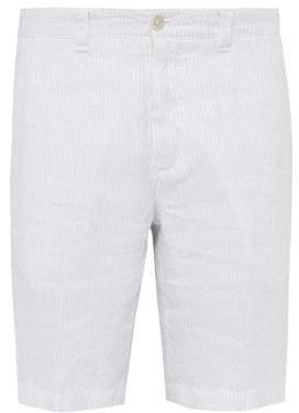 120% Lino Pinstriped Slubbed Linen Poplin Bermuda Shorts - Mens - White