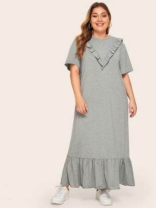 Shein Plus Chevron Ruffle Trim Flippy Hem Dress