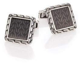 John Hardy Men's Classic Chain Enamel& Sterling Silver Cuff Links - Silver/Grey