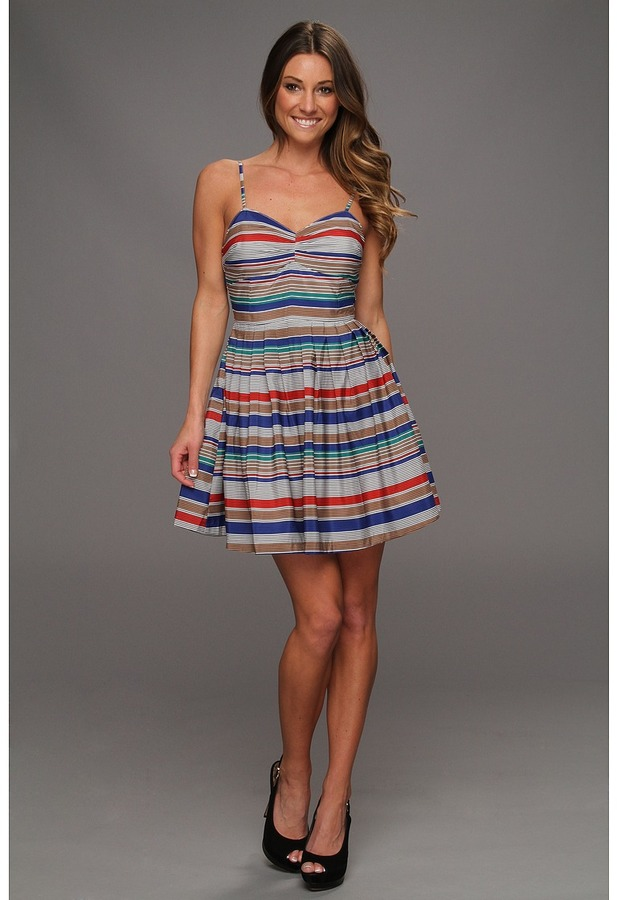BB Dakota Bria Stripe Dress (Navy Blue) - Apparel