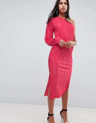 Asos DESIGN One Shoulder Midi Dress With Balloon Sleeve In Plisse