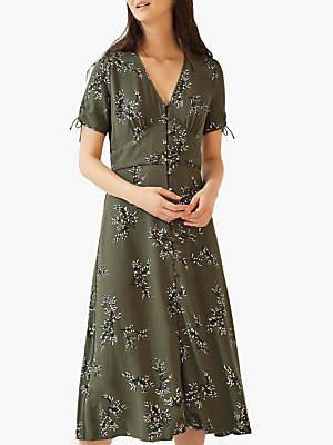 Jigsaw Sophelia V-Neck Midi Tea Dress, Khaki