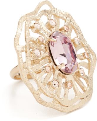 Oscar de la Renta Perforated Crystal Round Ring $290 thestylecure.com