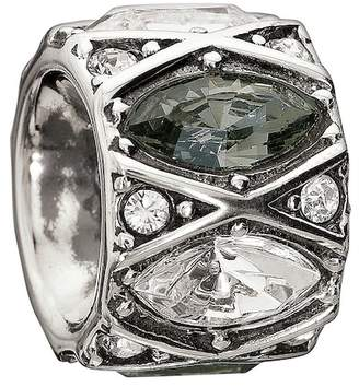 Swarovski Chamilia Sterling Silver Shimmering Marquise Cut Black & White Crystal Charm