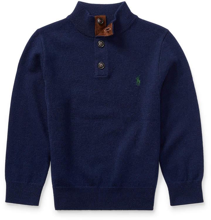 Suede-Trim Wool Sweater