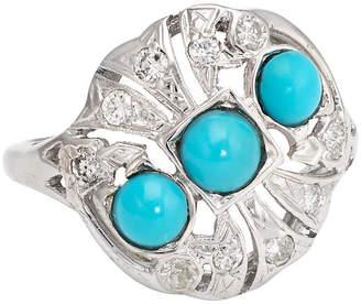 One Kings Lane Vintage Deco 14K Gold,Turquoise & Diamond Ring - Precious & Rare Pieces