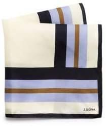 Ermenegildo Zegna Men's Colorblock Silk Scarf - White