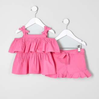 River Island Mini girls Pink bardot top and shorts outfit
