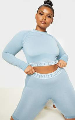 PrettyLittleThing Plus Light Blue Seamless Long Sleeve Crop Top