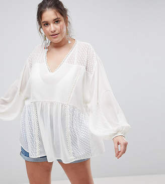 Asos DESIGN CURVE Longline Blouse in Dobby Lace Mix