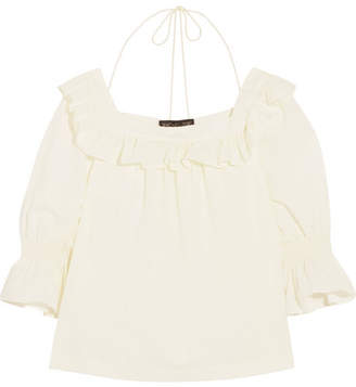 Rachel Zoe Henson Ruffled Swiss-dot Cotton Blouse - Cream