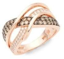 LeVian Chocolatier Gladiator Weave 14K Strawberry Gold, Chocolate Diamond & Vanilla Diamond Ring