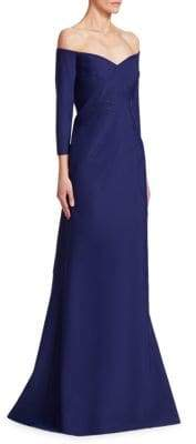 Rene Ruiz Off-The-Shoulder Bead Gown
