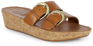 FitFlop Double Buckle Leather Wedge Sandal