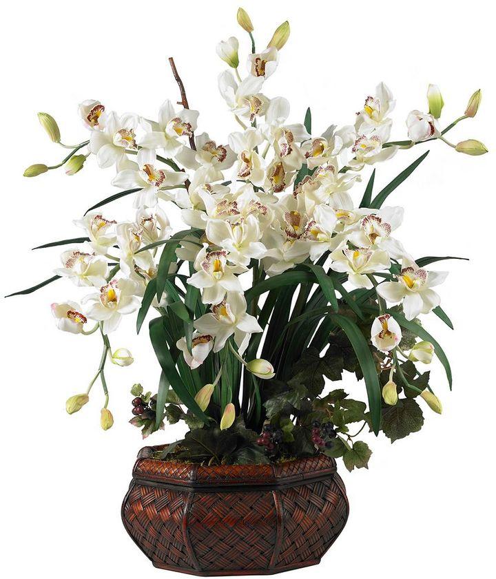 Nearly natural Silk Cymbidium Floral Arrangement