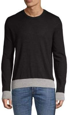 Maison Margiela Leather-Trimmed Linen & Wool Sweater