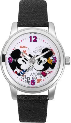 Disney Disney's Mickey & Minnie Mouse Women's Crystal Leather Watch